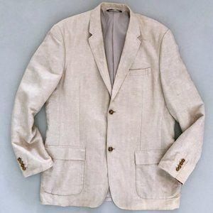 PERRY ELLIS Men's Linen Herringbone Blazer Jacket